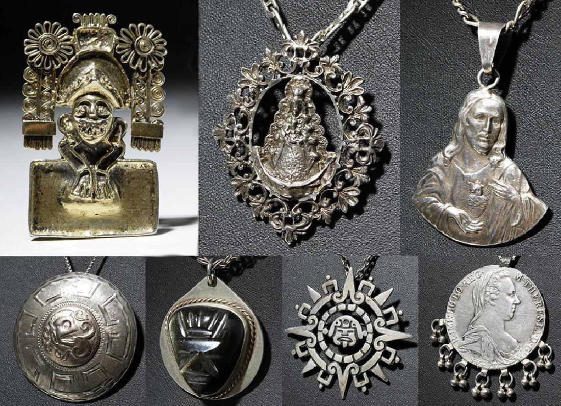 20th C. Six Vintage Mexico Silver Necklaces & Pendant