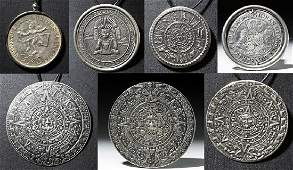 20th C. Seven Vintage Mexican Silver Calendars / Coins
