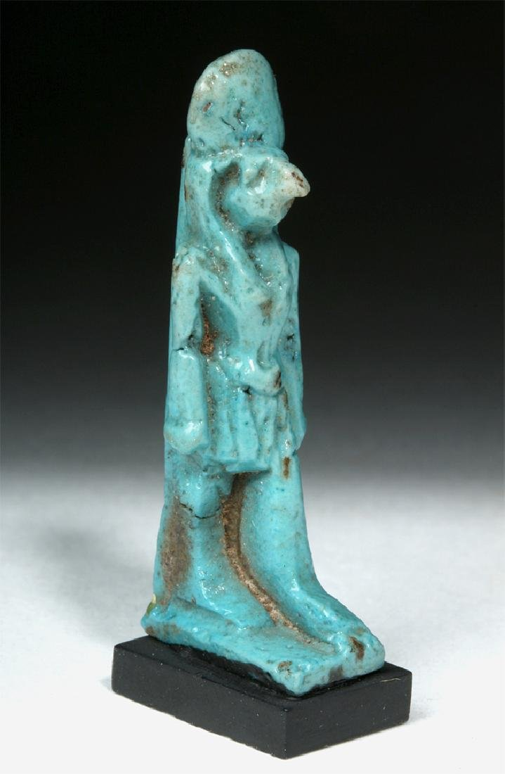 Egyptian Blue Glaze Faience Figurine of Ra Horakhty