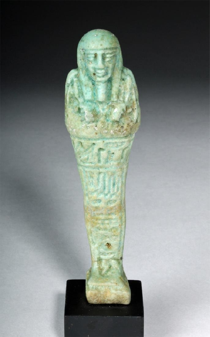 Egyptian Late Period Turquoise Glazed Faience Ushabti