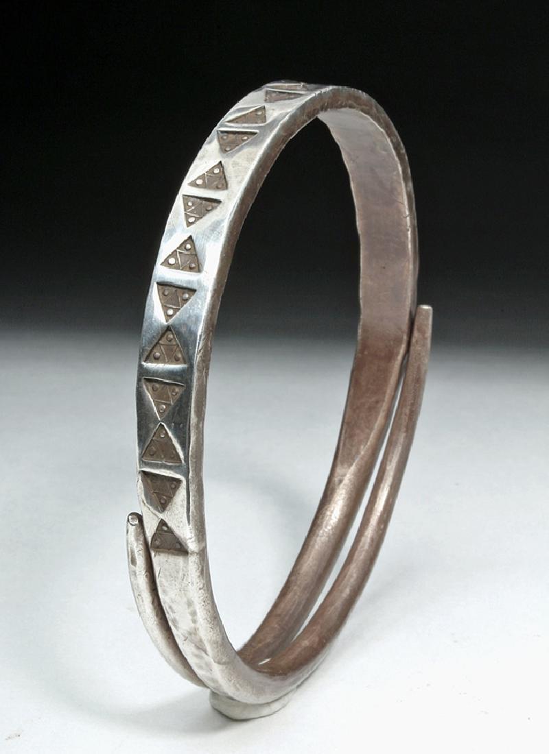 Viking or Norse Silver Bracelet - Geometric Motif