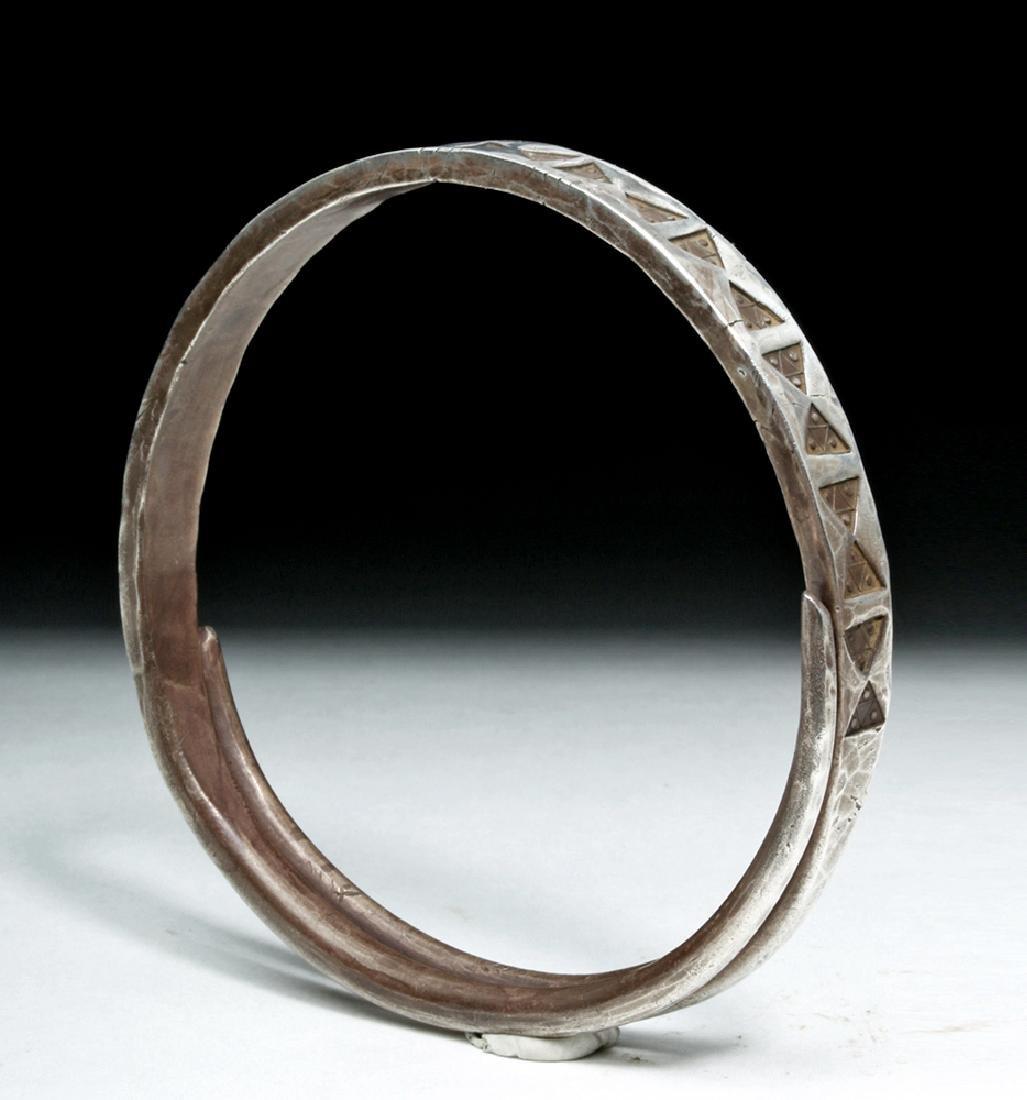 Viking or Norse Silver Bracelet - Geometric Motif - 2