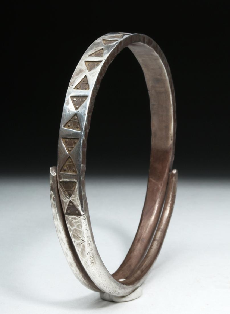 Viking or Norse Silver Bracelet - Geometric Motif - 3