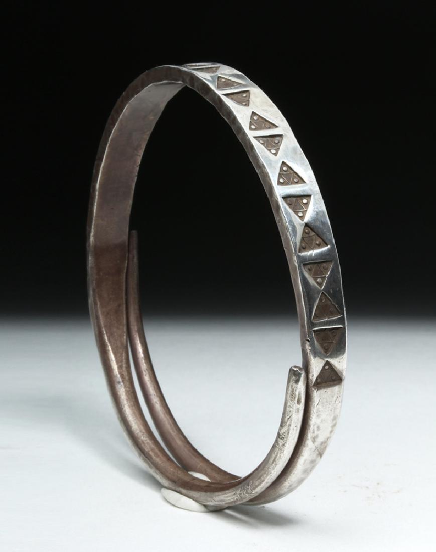 Viking or Norse Silver Bracelet - Geometric Motif - 4