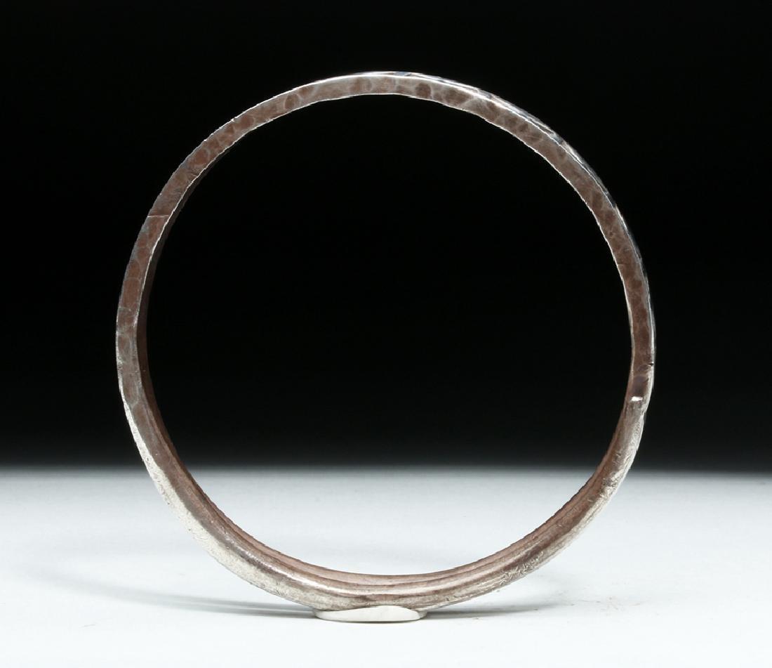 Viking or Norse Silver Bracelet - Geometric Motif - 5