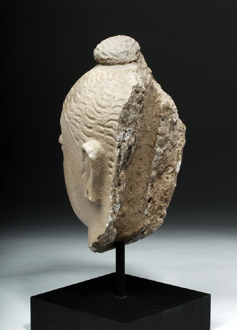 Superb Gandharan Stuccoed Schist Buddha Head - 3