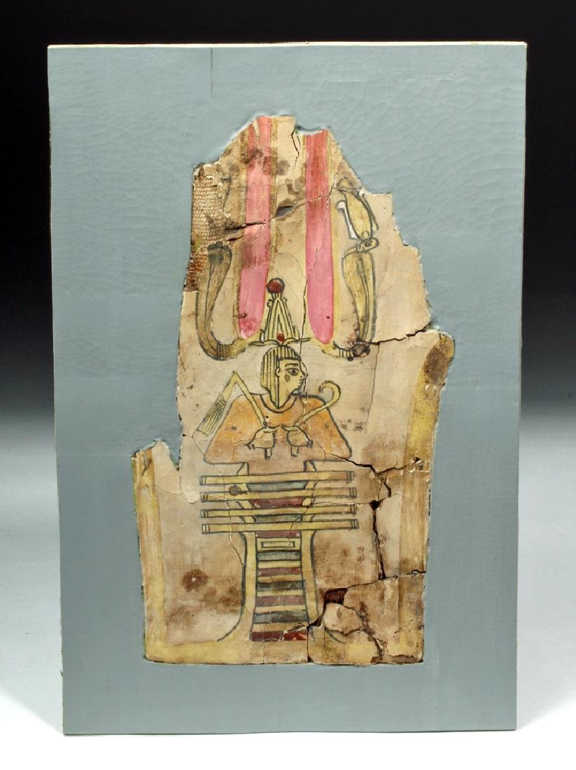 Egyptian Cartonnage Section w/ Djed Pillar & Osiris