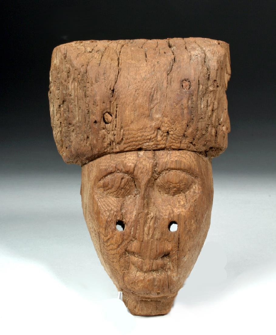 Egyptian Wood Carved Sarcophagus Mask
