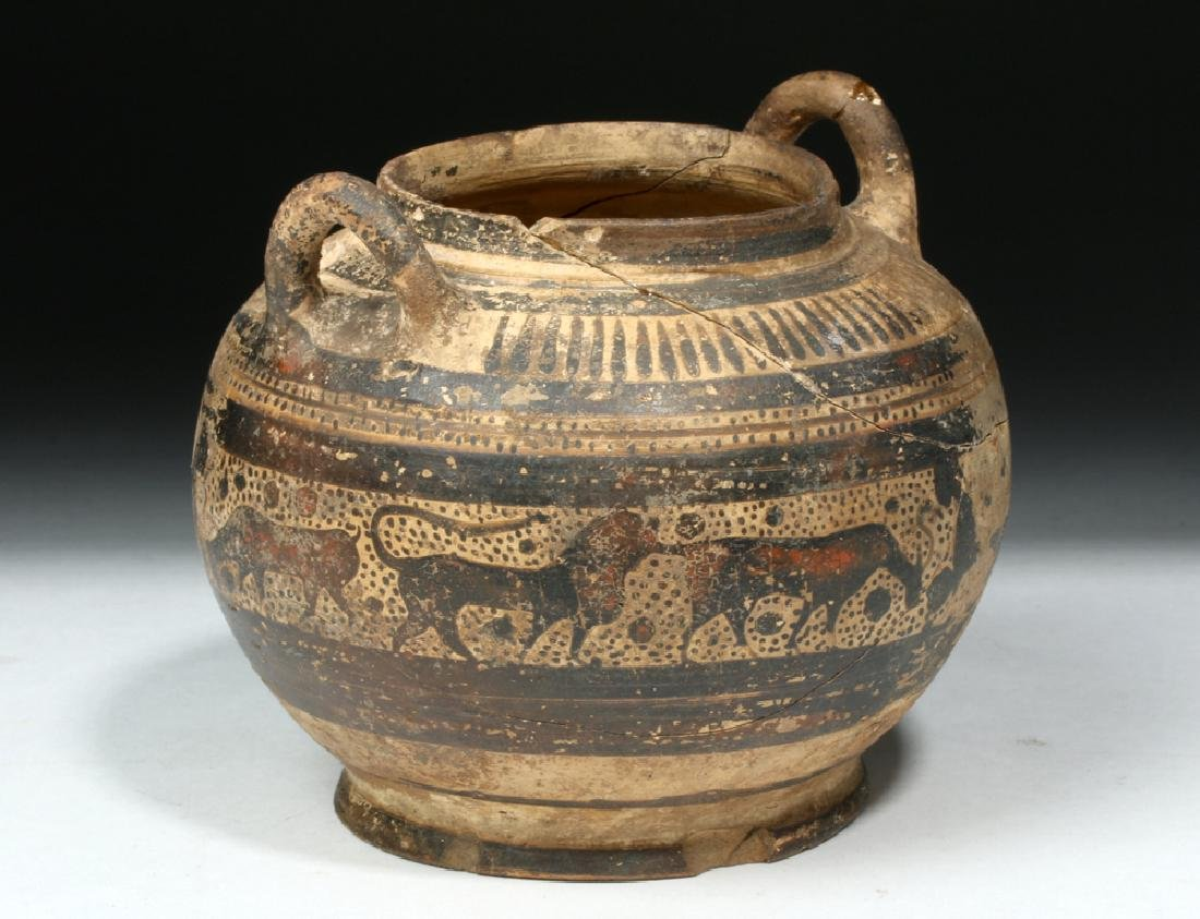 Corinthian Pottery Twin-Handled Jar w/ Animal Freize