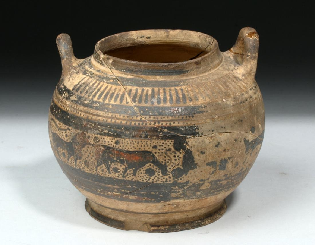 Corinthian Pottery Twin-Handled Jar w/ Animal Freize - 2