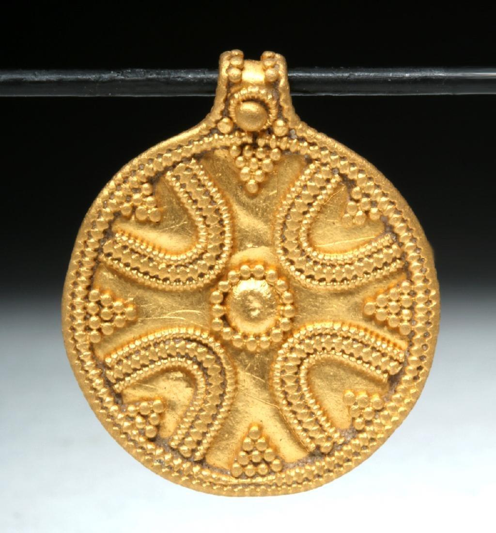 9th C. Viking 24K Gold Filigree Pendant - 3.9 g