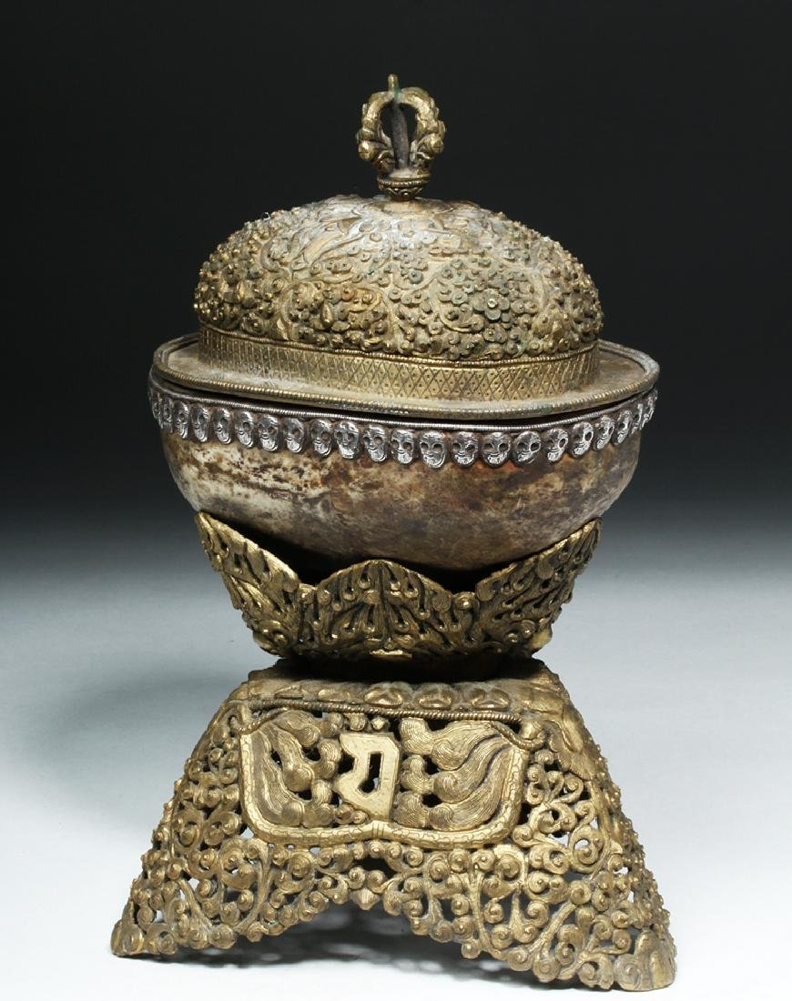 19th C. Tibetan Brass Kapala and Original Stand - 4