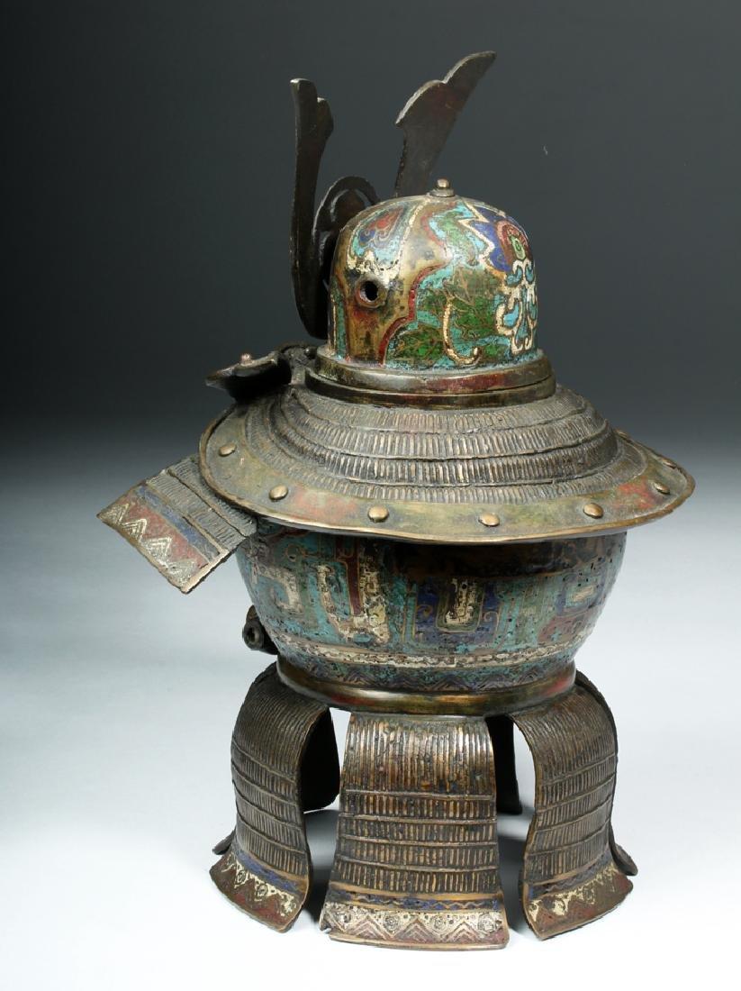 Japanese Edo Bronze / Cloisonne Samurai Helmet Urn - 3