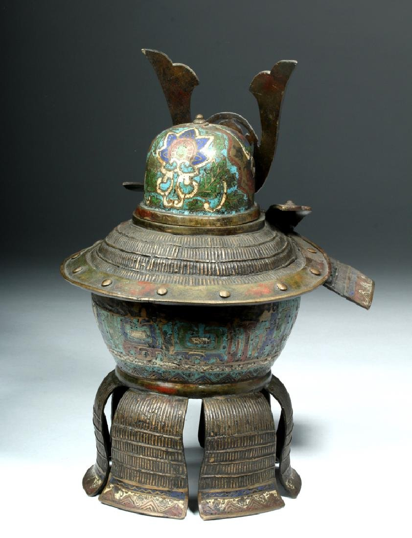 Japanese Edo Bronze / Cloisonne Samurai Helmet Urn - 4