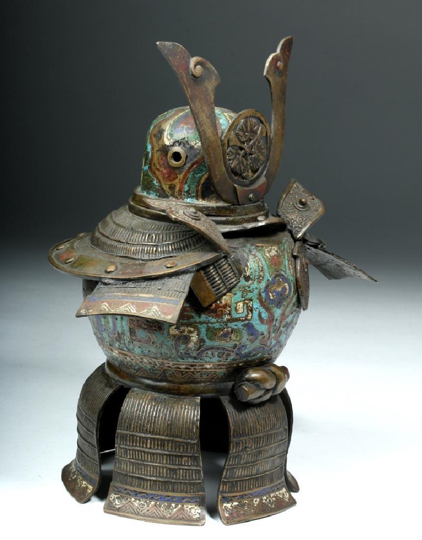 Japanese Edo Bronze / Cloisonne Samurai Helmet Urn - 5