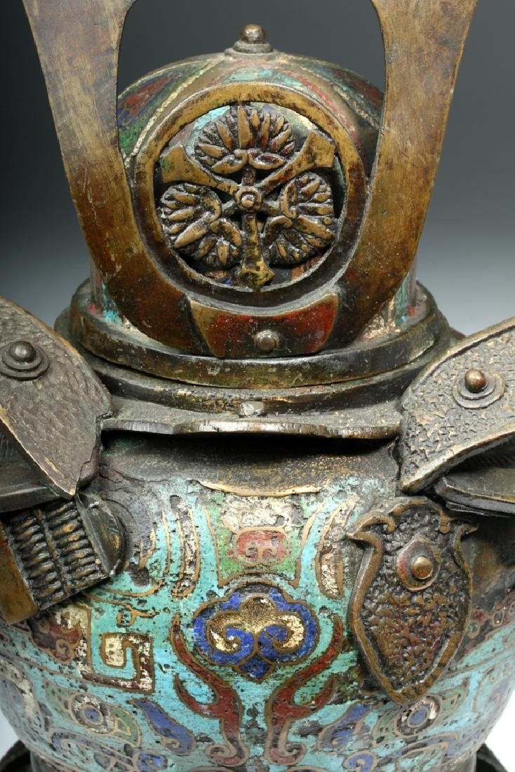 Japanese Edo Bronze / Cloisonne Samurai Helmet Urn - 6