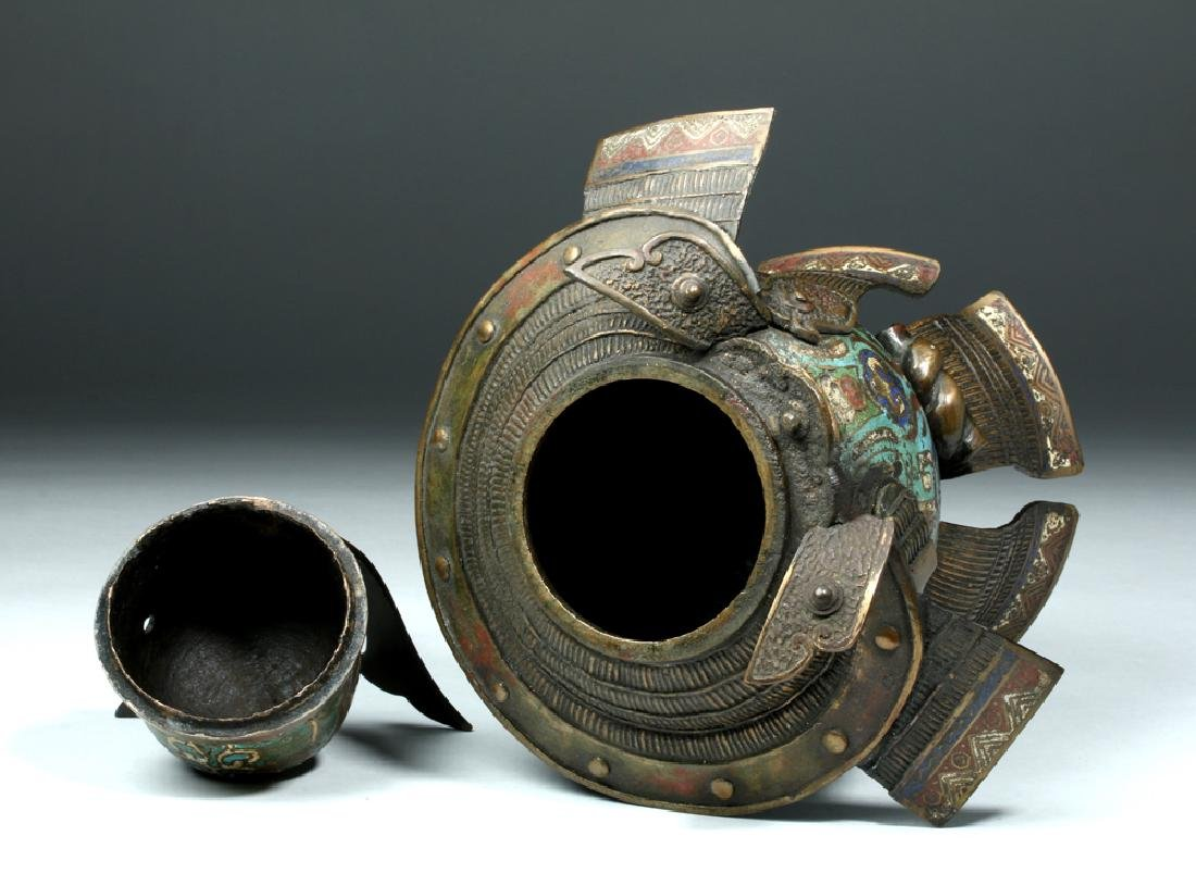 Japanese Edo Bronze / Cloisonne Samurai Helmet Urn - 7