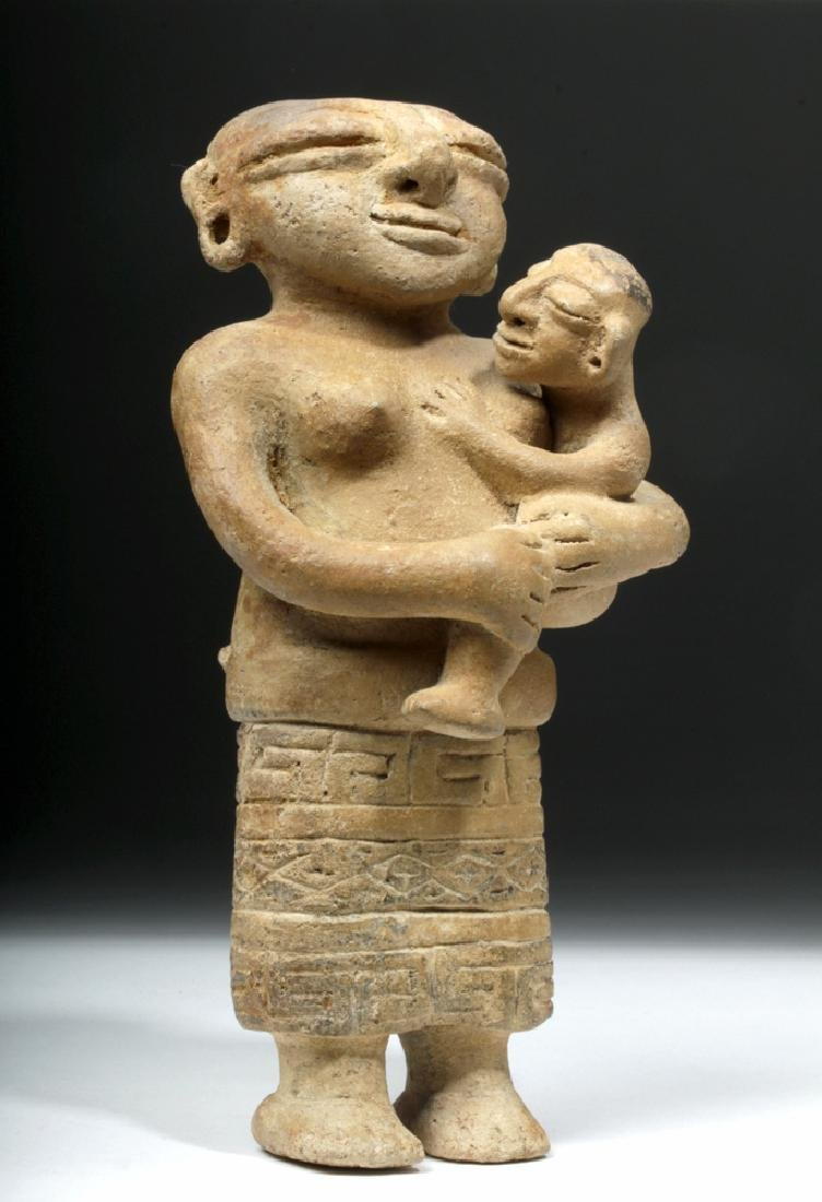 Rare Sinu Pottery Mother & Child Statue