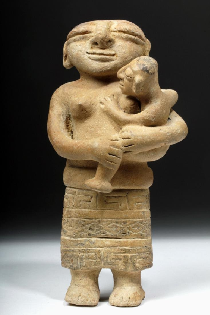Rare Sinu Pottery Mother & Child Statue - 2