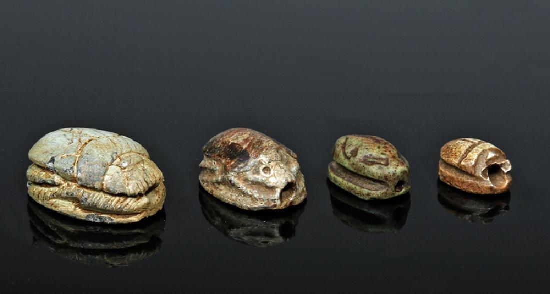 Four Ancient Egyptian Steatite Scarabs
