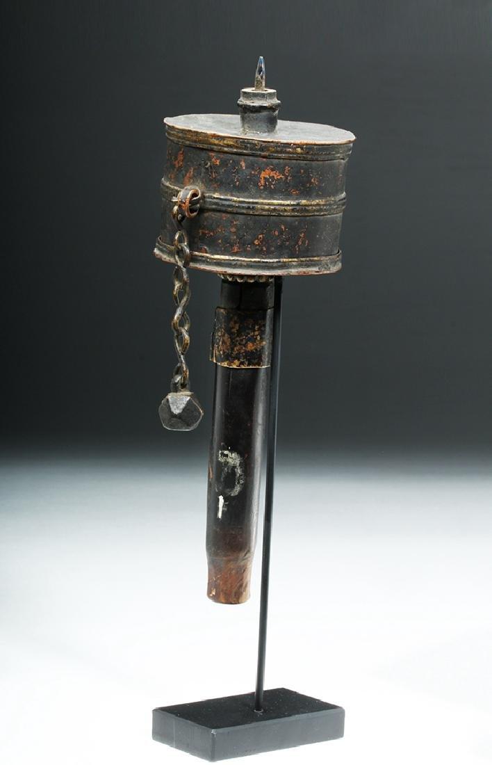 Early 20th C. Tibetian Prayer Wheel & Crystal Dorje - 3