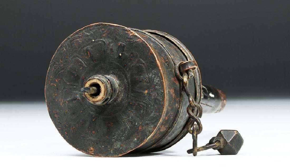 Early 20th C. Tibetian Prayer Wheel & Crystal Dorje - 5