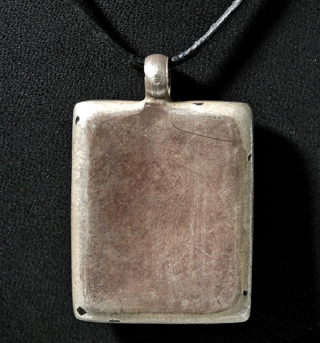 19th C. Indian Goddess Gilt Silver Rectangular Amulet - 3