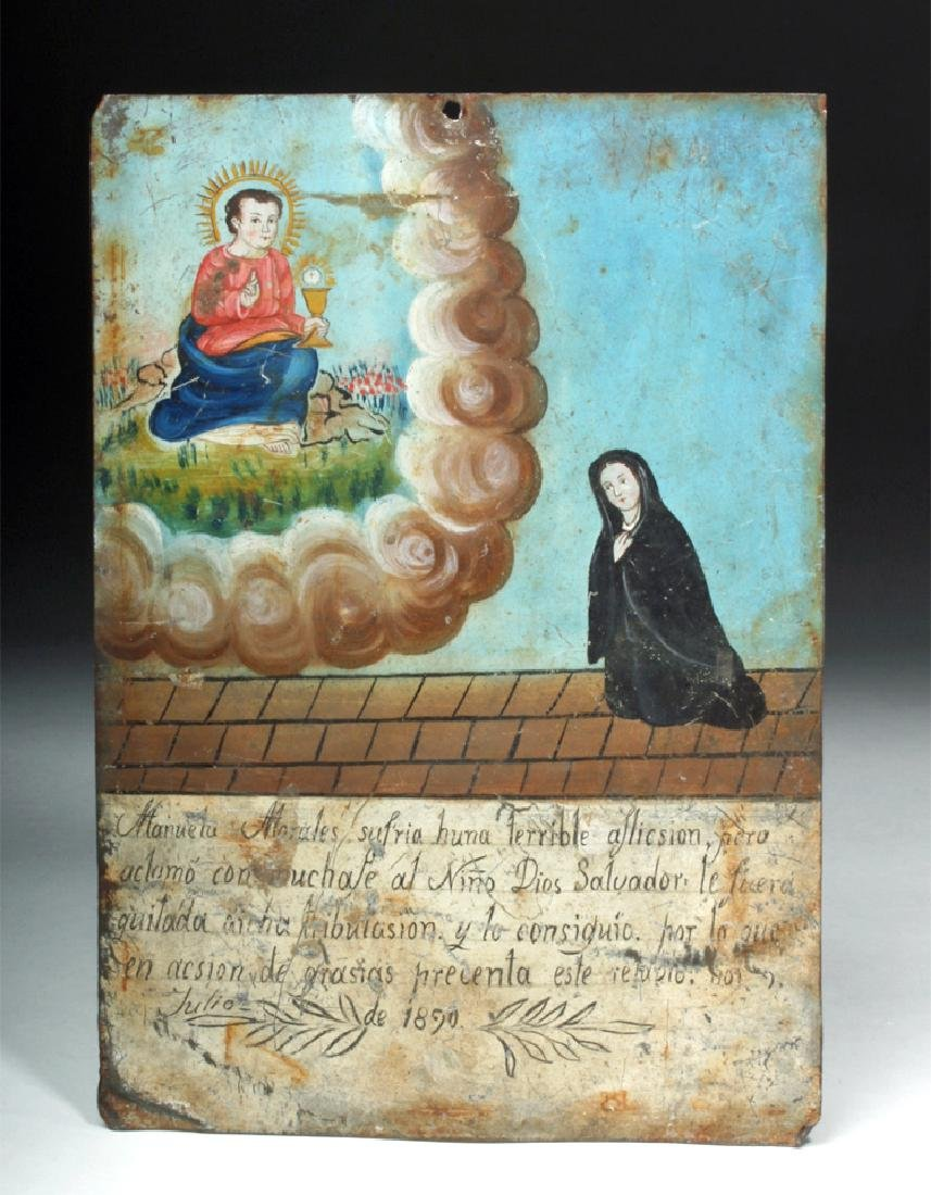 19th C. Mexican Painted Ex-Voto to Child Jesus