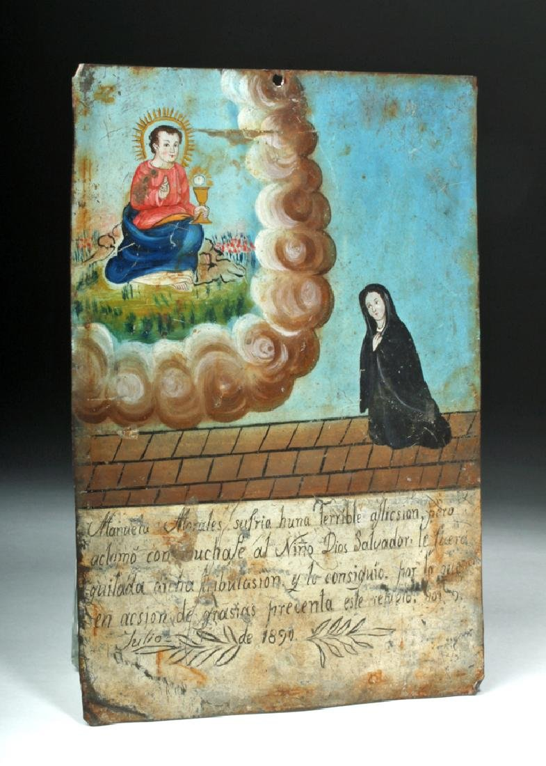 19th C. Mexican Painted Ex-Voto to Child Jesus - 3