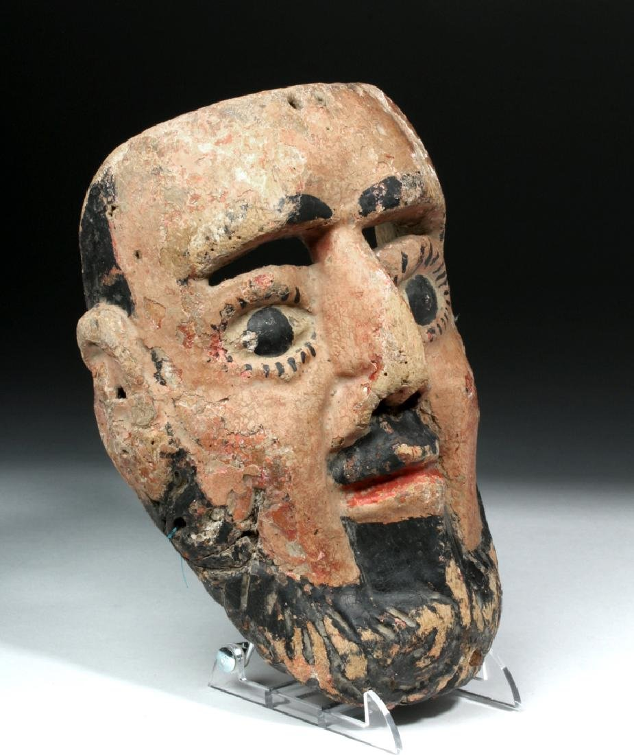 Mexican Painted Wood Festival Mask - Bearded Male