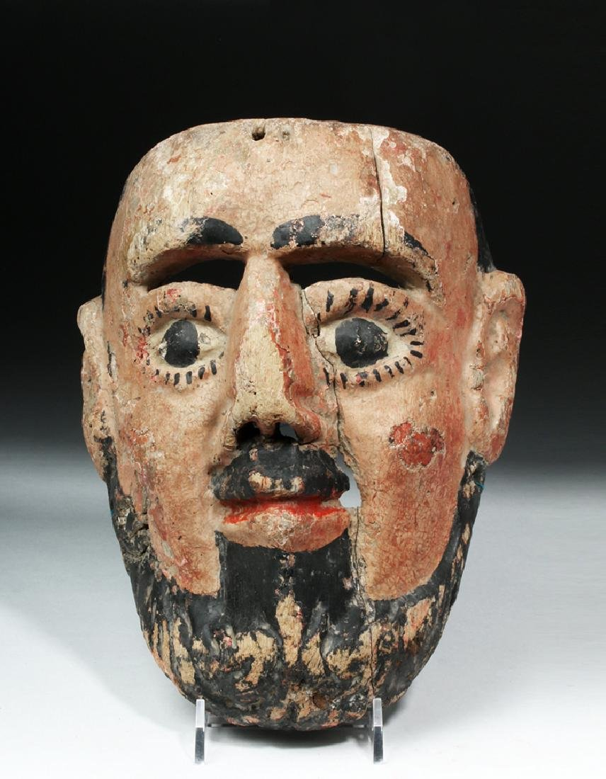 Mexican Painted Wood Festival Mask - Bearded Male - 2