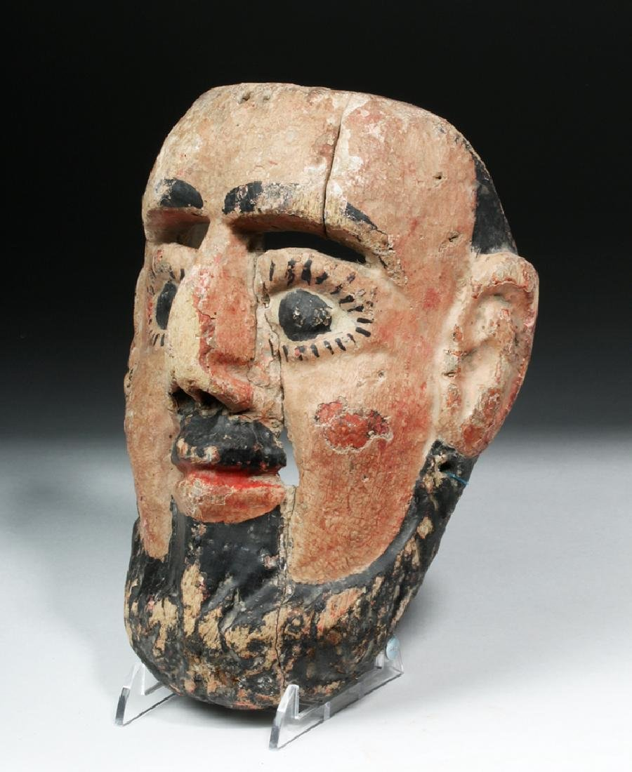 Mexican Painted Wood Festival Mask - Bearded Male - 3