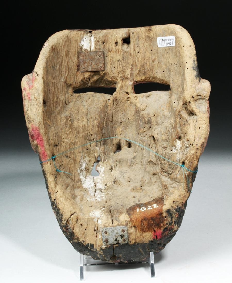 Mexican Painted Wood Festival Mask - Bearded Male - 4
