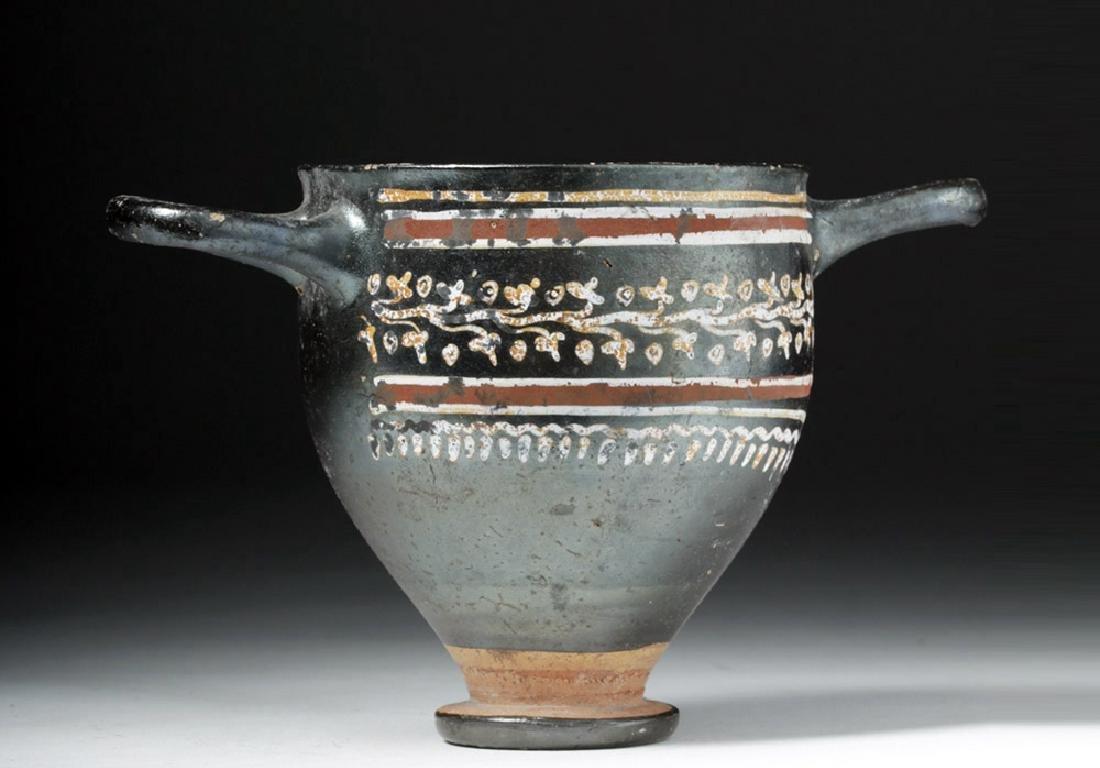 Greek Gnathian Pottery Skyphos with Grape Vines - 5