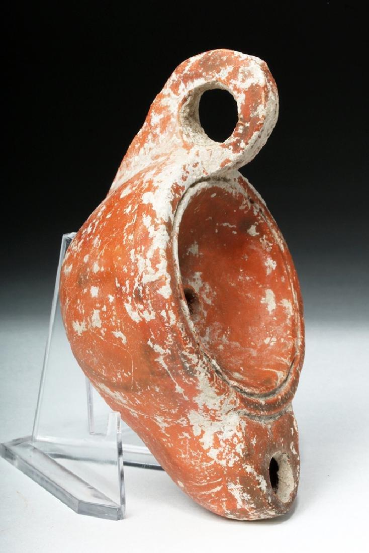 Roman Redware Oil Lamp - Deep Discus - 3
