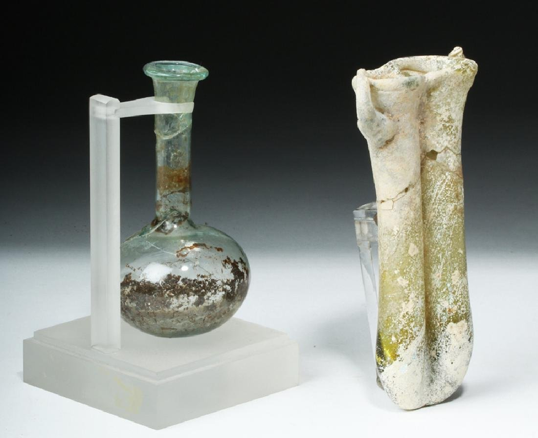 Roman Glass Vial & Double Balsamarium - 4