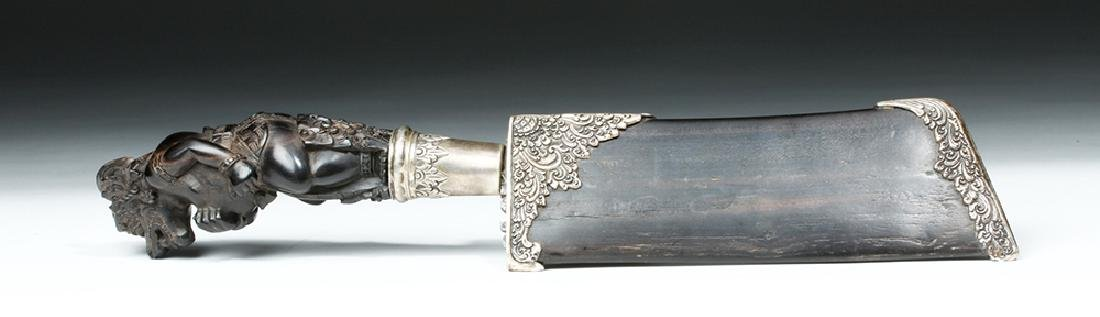 19th C. Indonesian Horn, Wood and Damascus Steel Knife - 4