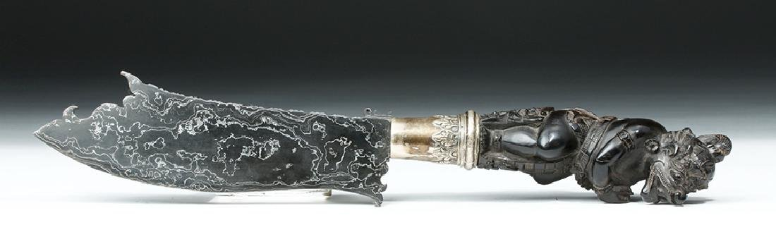 19th C. Indonesian Horn, Wood and Damascus Steel Knife - 6