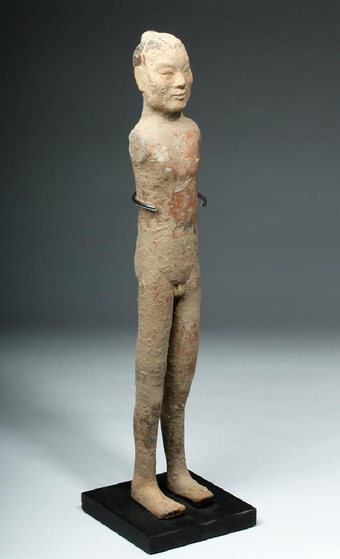 Chinese Han Dynasty Pottery Standing Male - 5