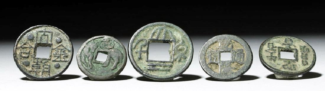 Lot of 5 Chinese Song Dynasty Bronze Charms & Tokens