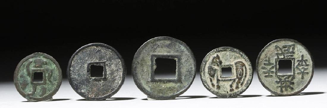 Lot of 5 Chinese Song Dynasty Bronze Charms & Tokens - 4
