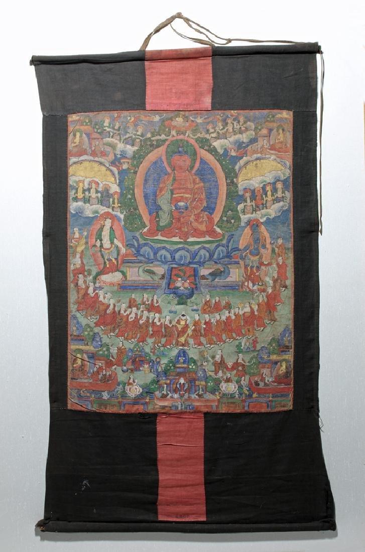18th C. Tibetan Thangka - Lineage Tree of Gelugpa Sect