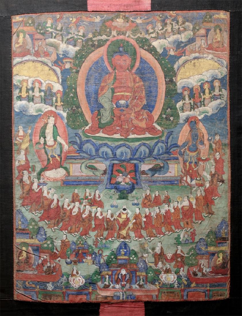 18th C. Tibetan Thangka - Lineage Tree of Gelugpa Sect - 2