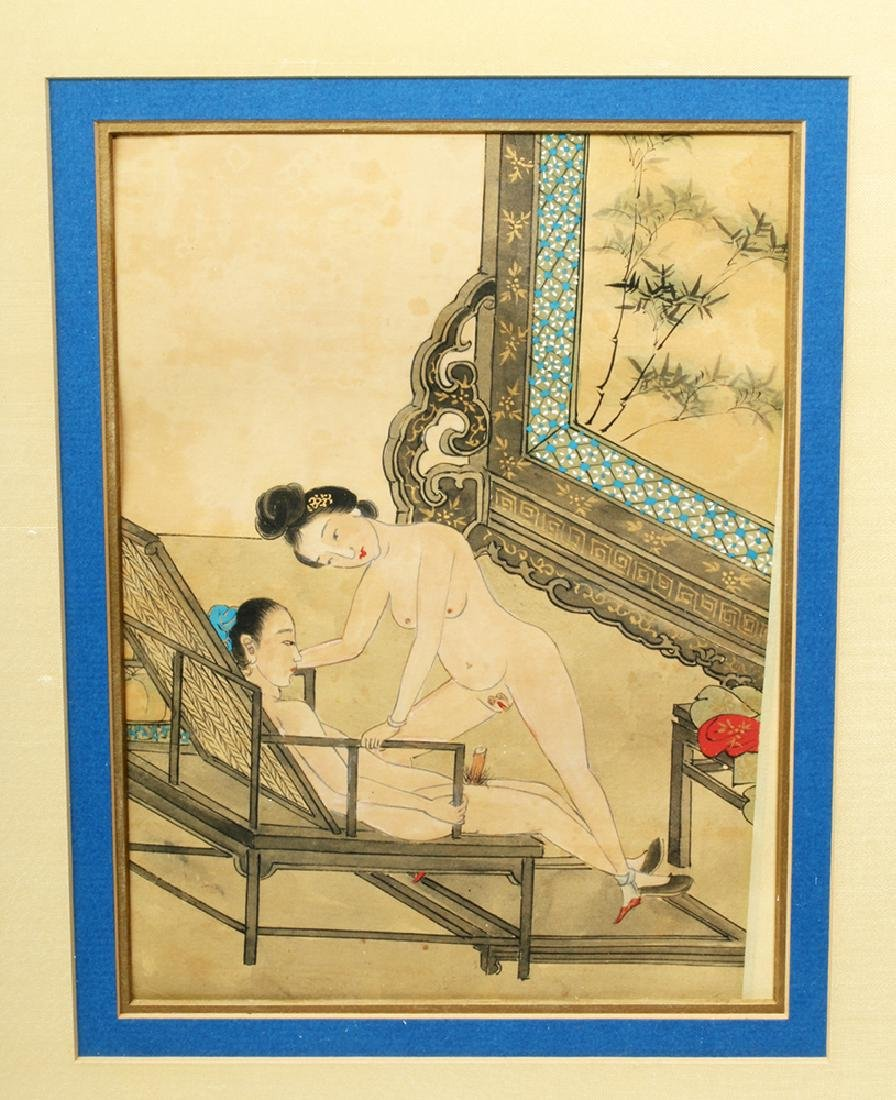 19th C. Framed Chinese Erotic Watercolor - Aroused Male