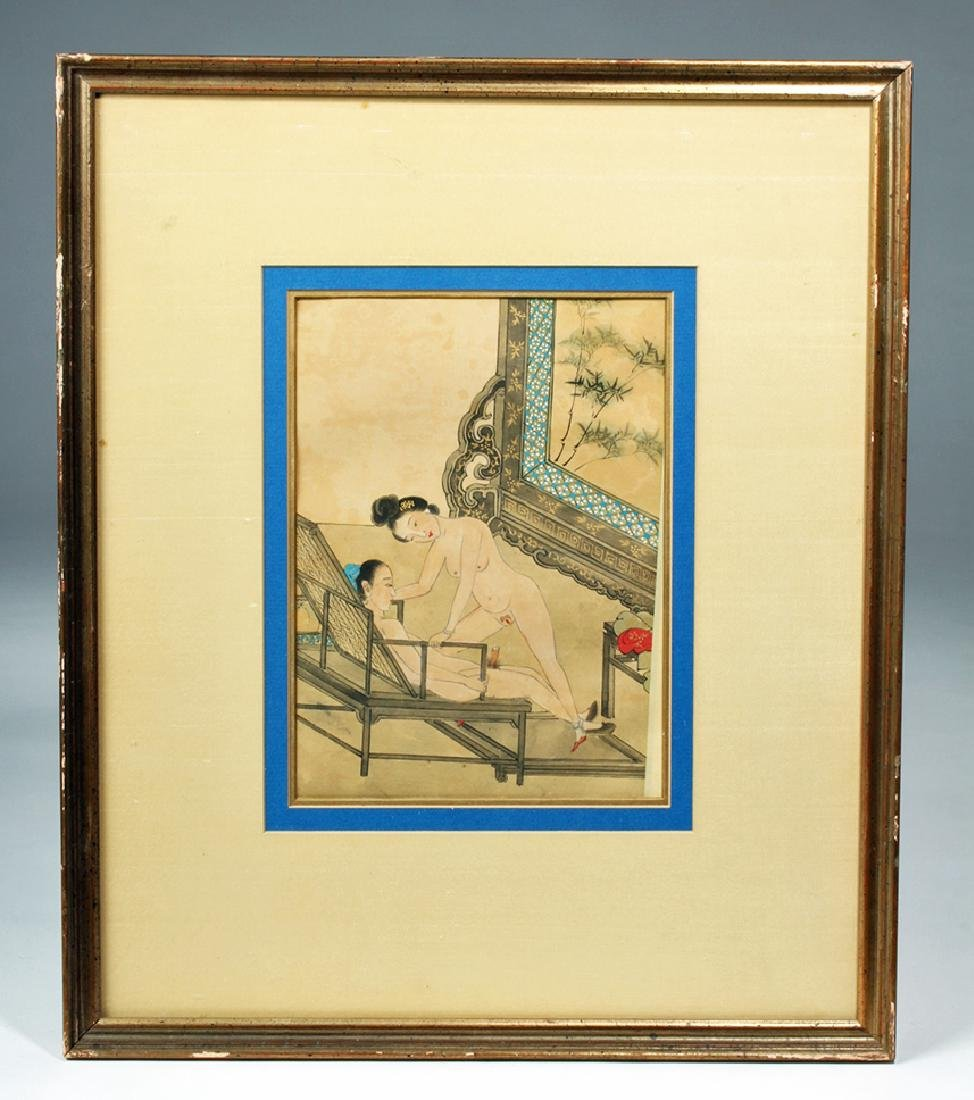 19th C. Framed Chinese Erotic Watercolor - Aroused Male - 2