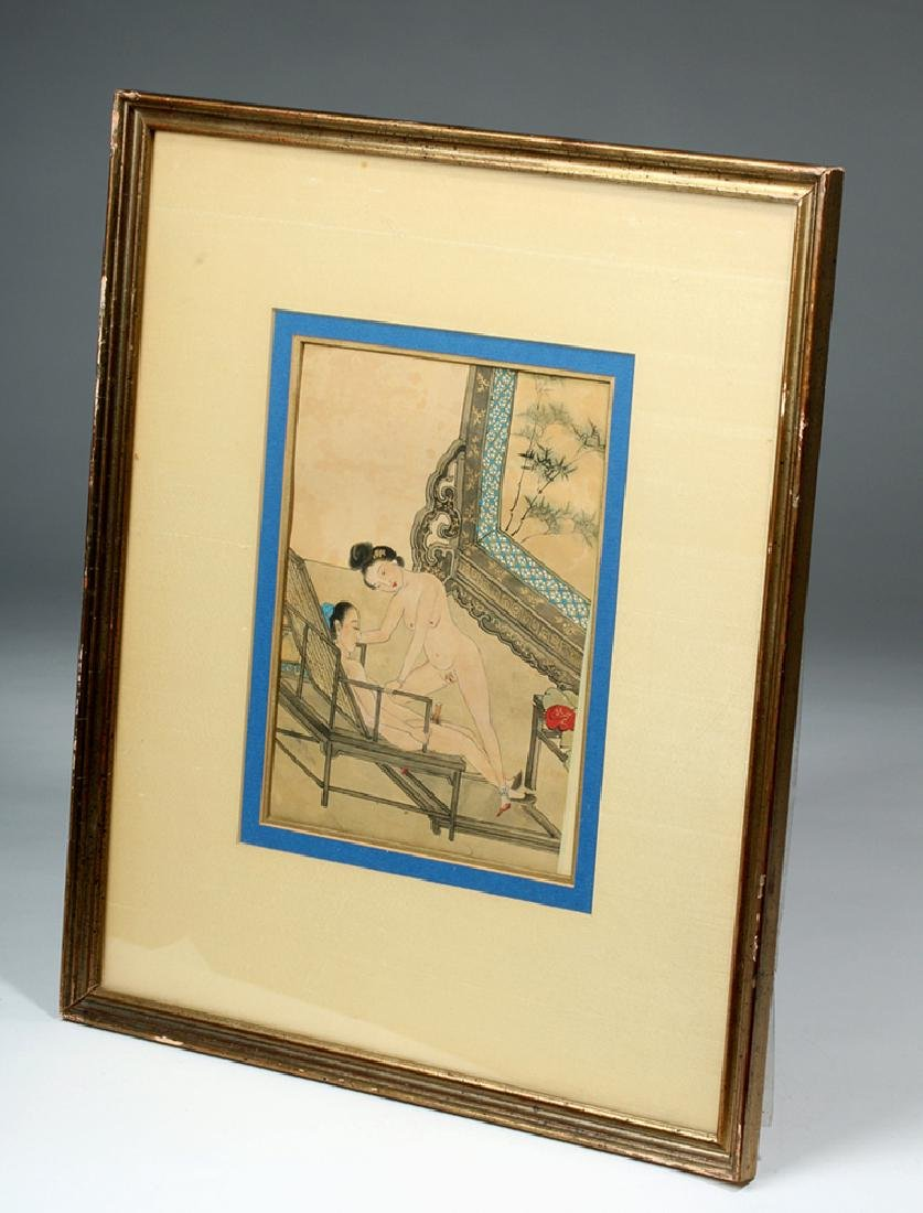19th C. Framed Chinese Erotic Watercolor - Aroused Male - 3