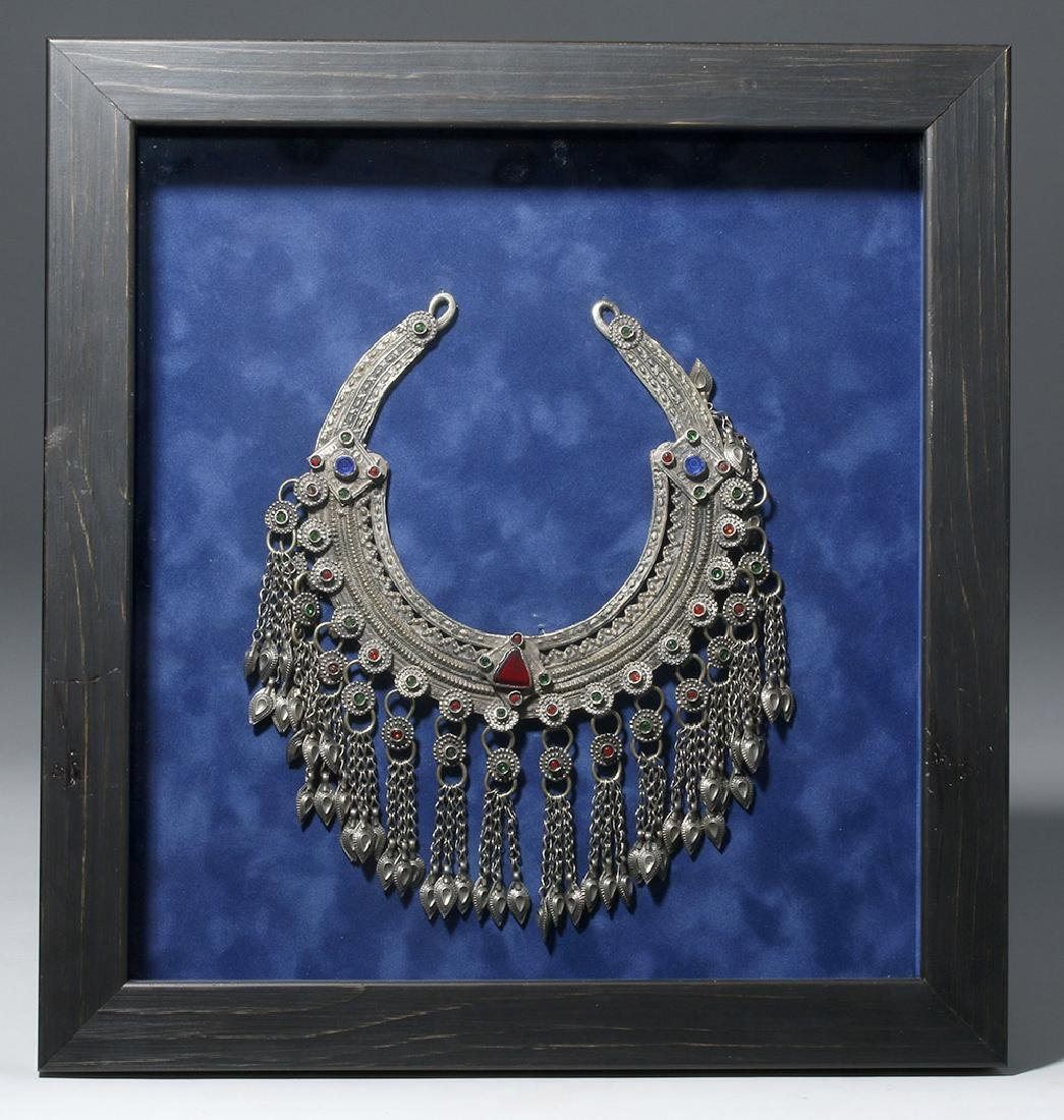 19th C. Chinese Mia Tribe Silver & Glass Necklace