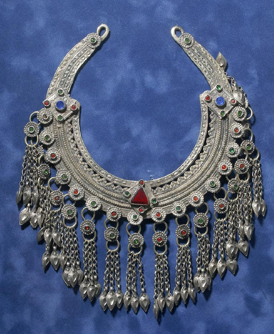 19th C. Chinese Mia Tribe Silver & Glass Necklace - 2