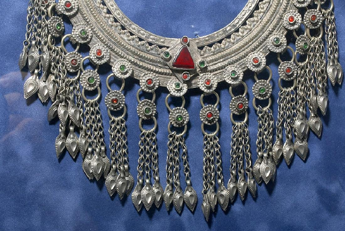 19th C. Chinese Mia Tribe Silver & Glass Necklace - 5
