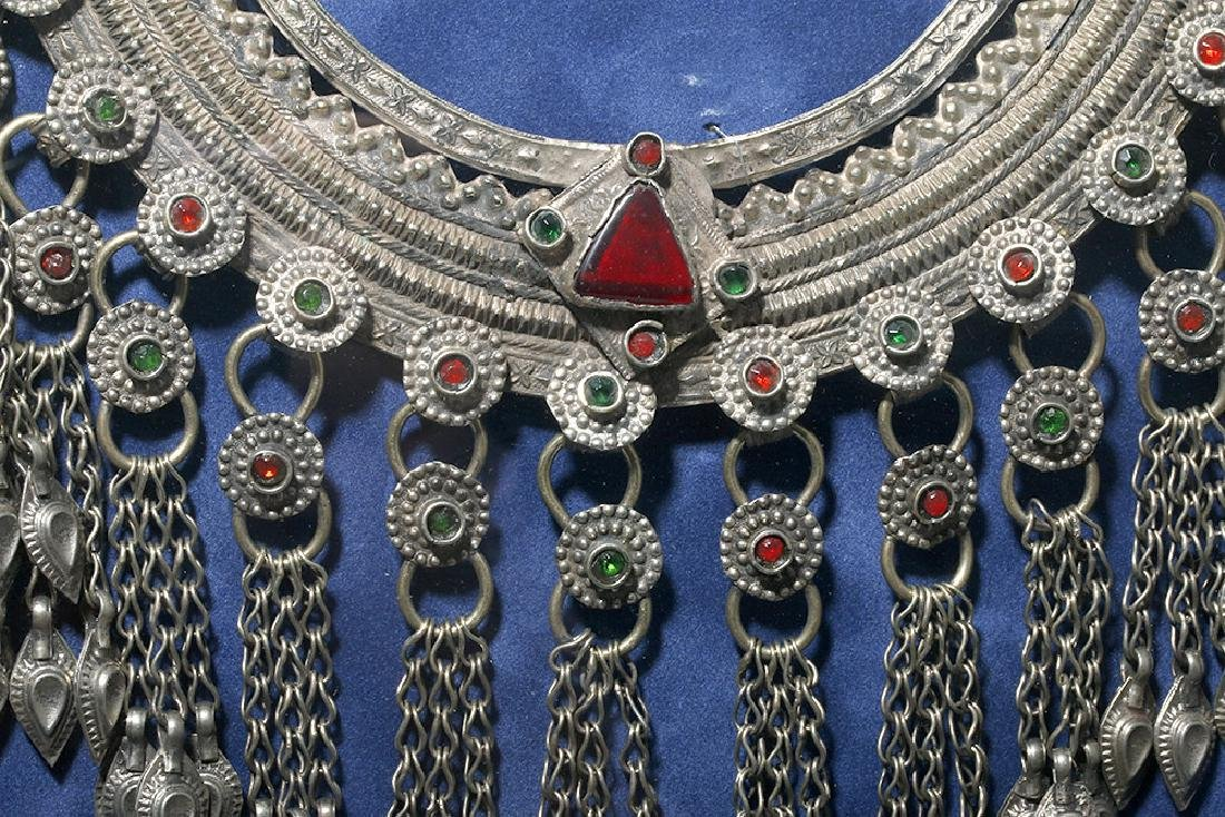 19th C. Chinese Mia Tribe Silver & Glass Necklace - 6